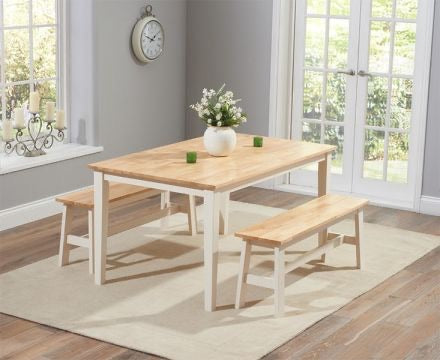 The Tessa - 150cm Oak & Cream Dining Bench Set