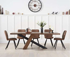 The Laura - Oak & Black Metal Leg Dining Set