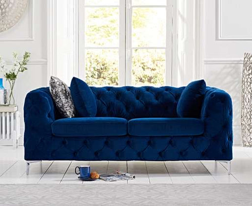 The Meaghan - Blue Plush 2 Seater Sofa