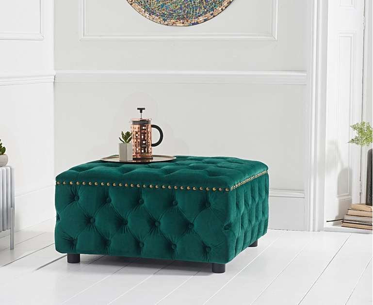 The Kinsley - Velvet Green Square Footstool