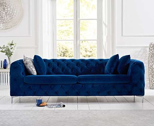 The Meaghan - Blue Plush 3 Seater Sofa