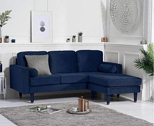 The Liv - Blue Velvet Corner Sofa