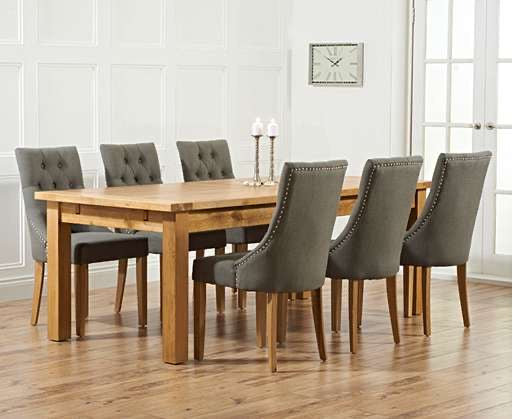 The Maeve - 220cm Oak Dining Set with Grey Fabric Chairs