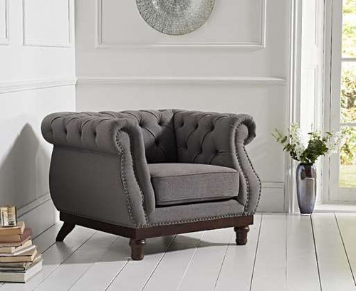 The Becky - Chesterfield Grey Linen Fabric Armchair
