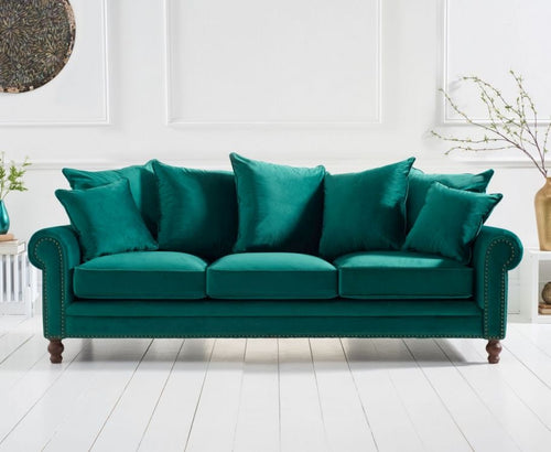 The Celia -  Green Plush Fabric 3 Seater Sofa