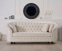 Load image into Gallery viewer, The Jacque - Chesterfield Ivory Fabric Three-Seater Sofa