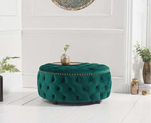 Load image into Gallery viewer, The Kinsley - Velvet Green Round Footstool