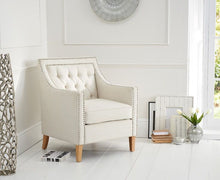 Load image into Gallery viewer, The Kate - Ivory Fabric Armchair