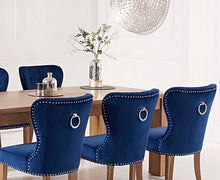 Load image into Gallery viewer, The Zara-  220cm Oak Dining Set with Velvet Chairs