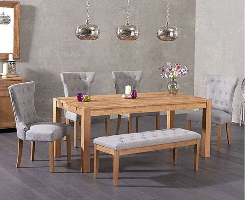 The Loretta - 150cm Solid Oak Dining Set with Fabric Bench & Chairs