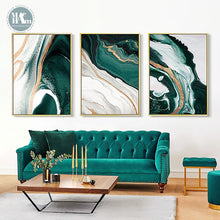 Load image into Gallery viewer, The Reena - Modern Gold & Green Wall Art