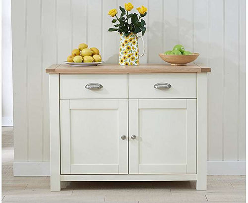 The Primrose -2 Door 2 Drawer Oak and Cream Sideboard
