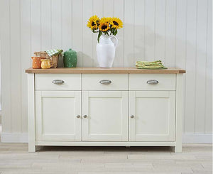 The Primrose -3 Door 3 Drawer Oak and Cream Sideboard