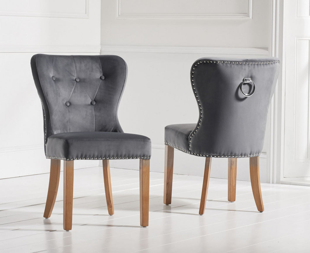 The Zara - Grey Velvet Chairs