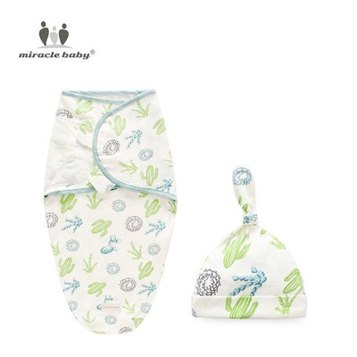Organic Cotton - Baby Swaddle Blanket + Cap