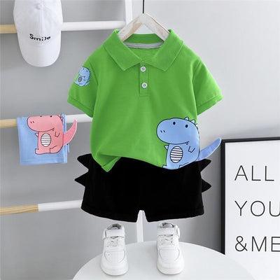 Dinosaur Lapel T Shirt Shorts