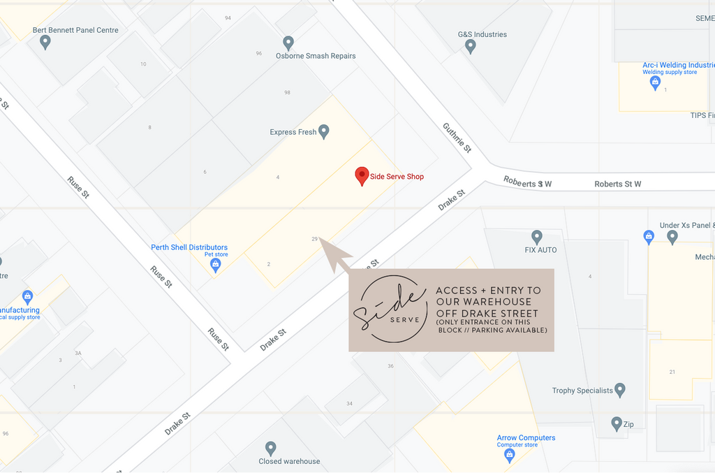 Location and entry/parking map for Side Serve Shop, Osborne Park WA 6017