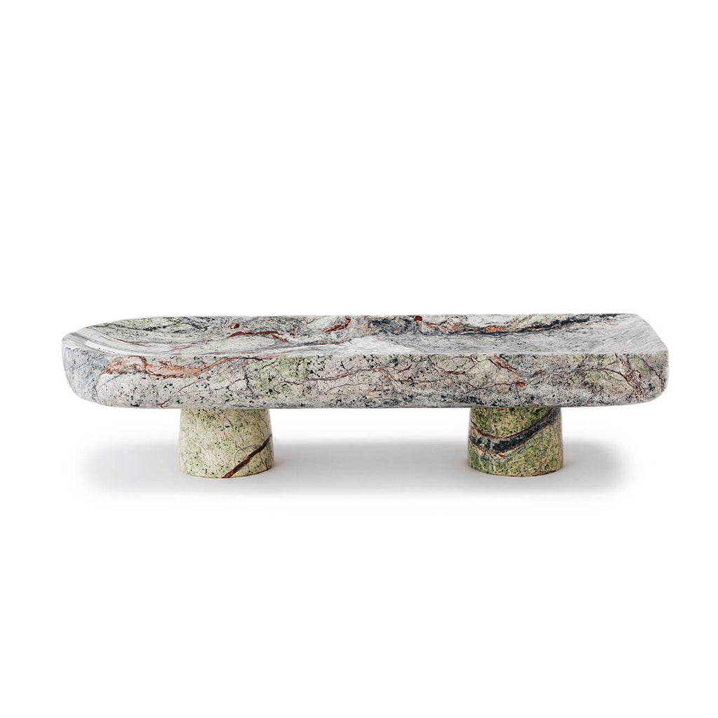 Chiara Marble Footed Tray - Green - Statement Tableware, Perth WA