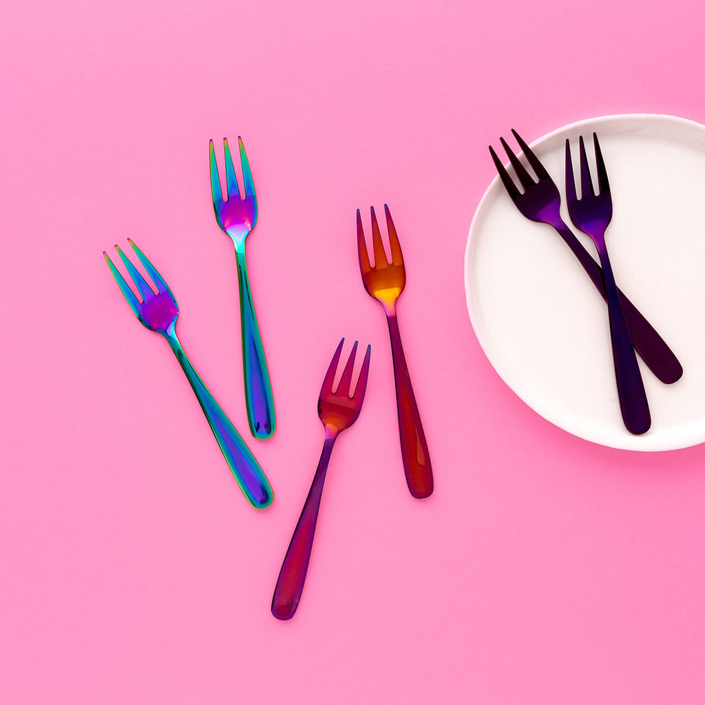 Set of 8 Blue/Pink, Orange/Pink, Purple/Pink Cake Forks on white plate - Statement Tableware, Perth WA