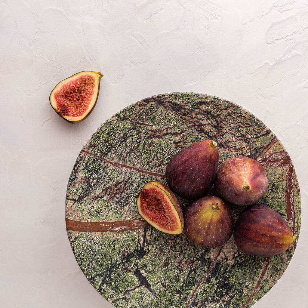 Chiara Round Marble Footed Tray - Green | Statement tableware & serveware Perth WA