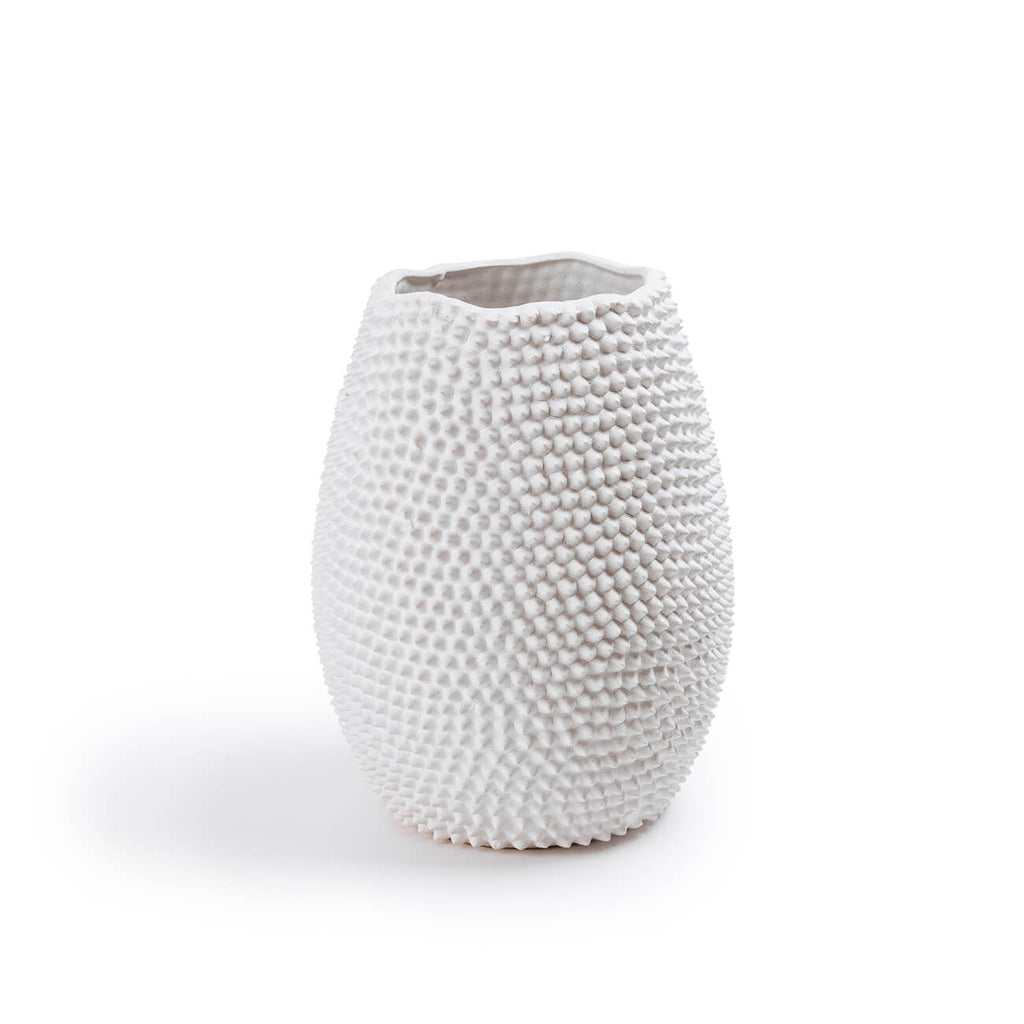 Large white urchin inspired ceramic vase 25x33cmH - Statement Table Decor & Styling - Perth WA