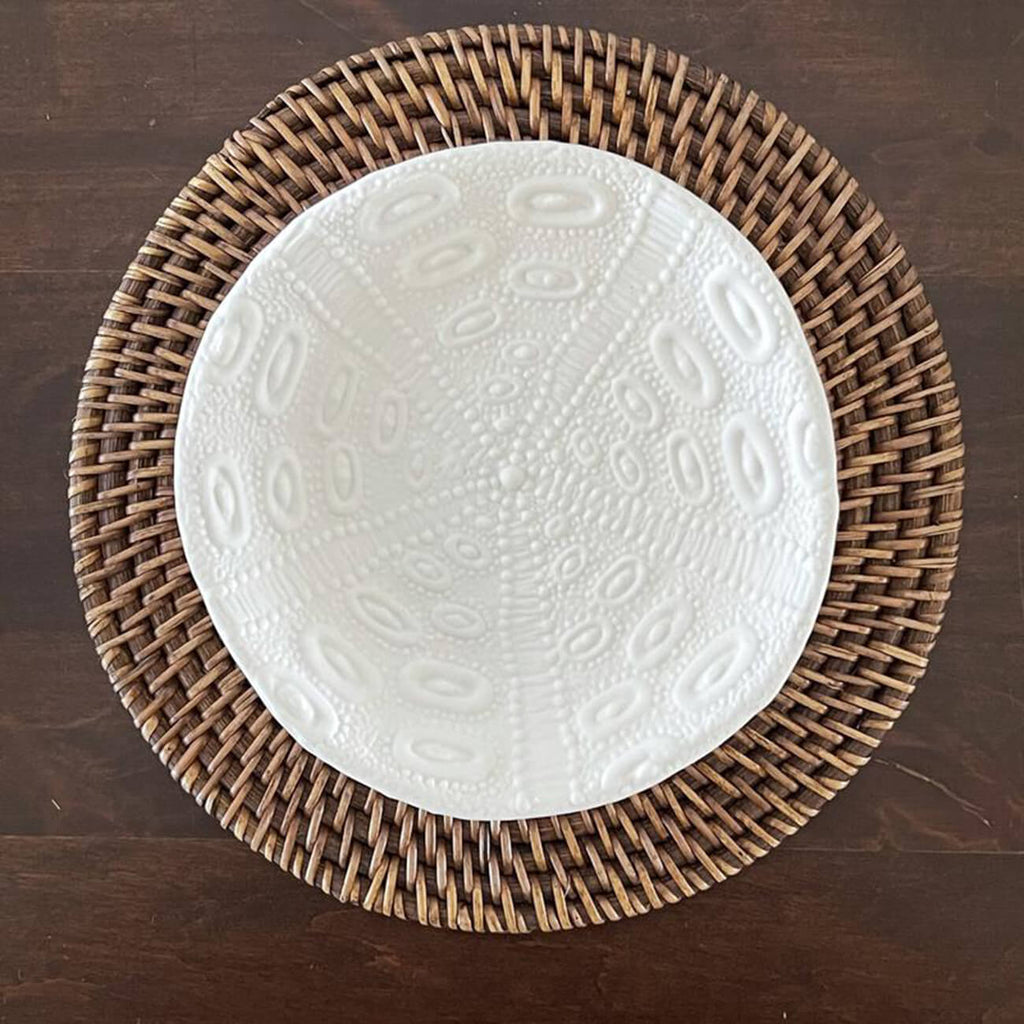 White dish with urchin pattern embossed onto the top of plate - Statement Tableware, Perth WA