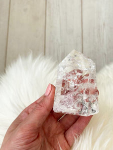 Fire + Ice Clear Quartz Standing Point