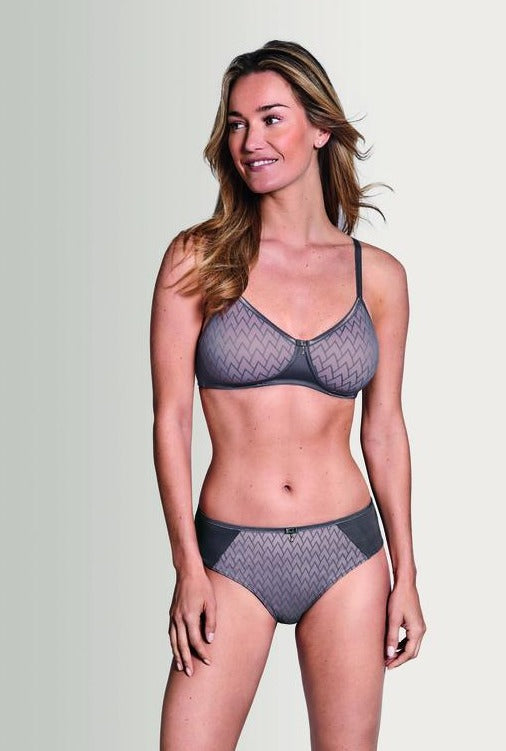 Amoena Maya Padded Soft Cup Bra in Grey / Rose