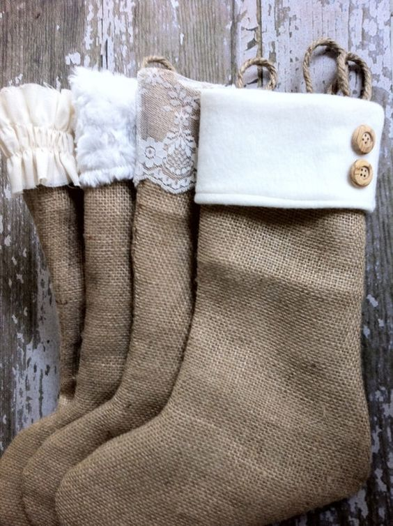 DIY Ideas for Decorating Burlap & Linen Stockings