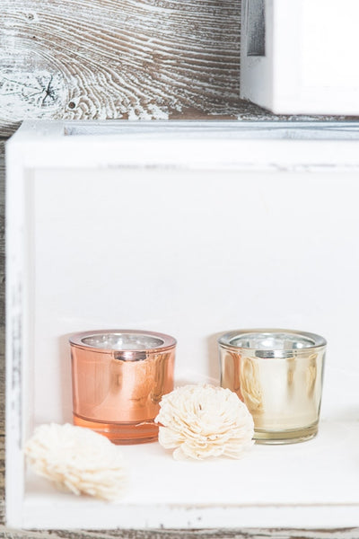 richland chunky votive holder rose gold mirrored set of 12