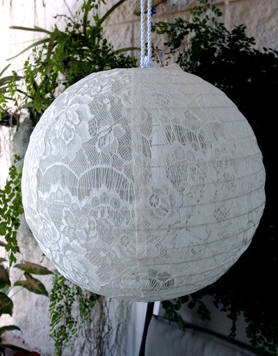 White Lace Fabric Hanging Lanterns 12""