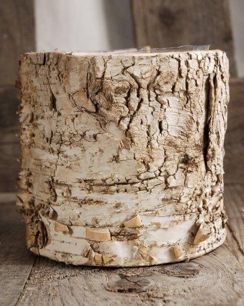"Birch Bark Planter 4.75"" Pot w/ Plastic Liner"