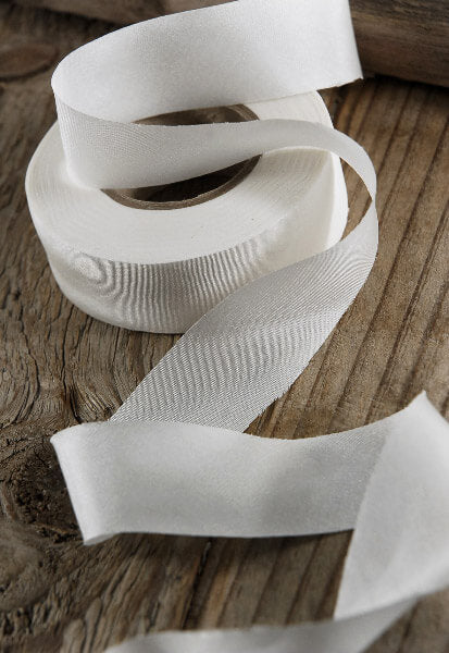"100% Silk Wedding Ribbon White 1"" x 38 yds"