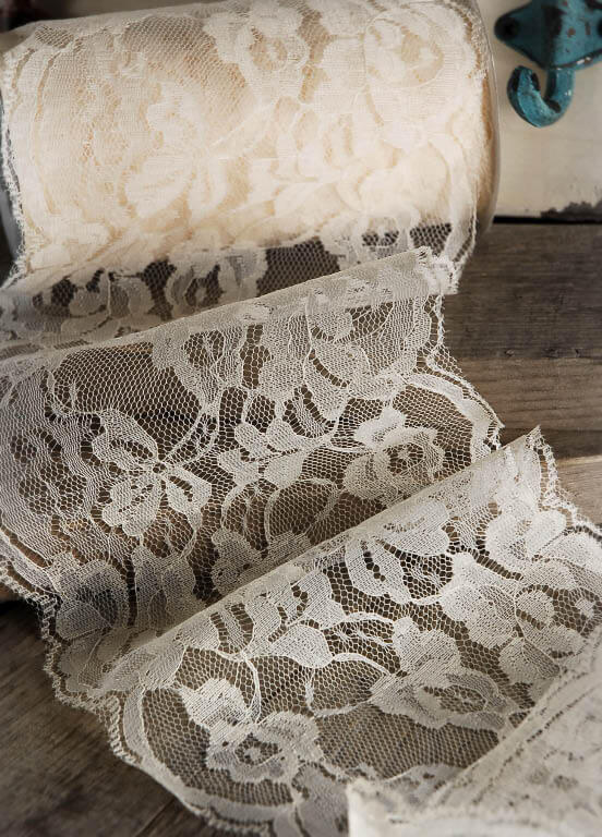 "Ivory Lace Ribbon  6"" wide x 10 yards"