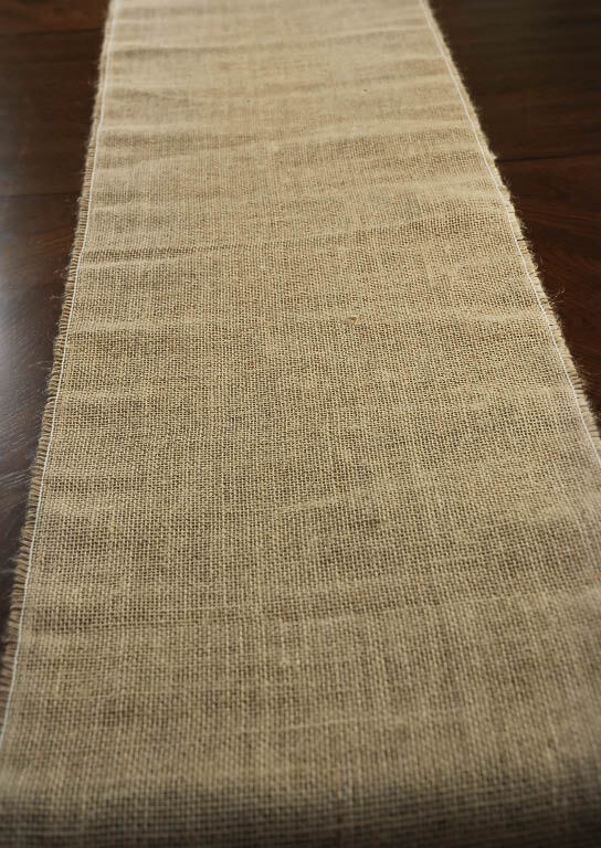 "Burlap Table Runner 12.5"" Wide 76"" long"