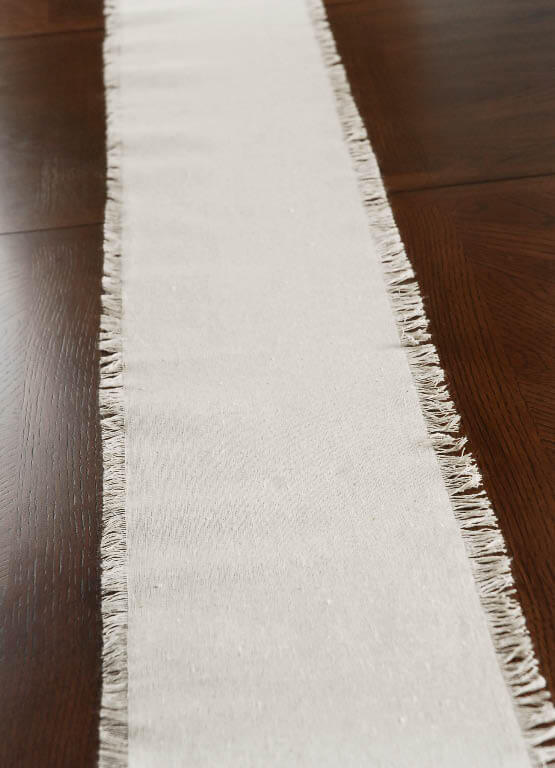 Fringed Edge Linen Table Runner & Chair Sash 108in