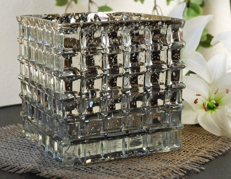 "Silver Mercury Glass 6"" Cube Vase & Candle Holder"