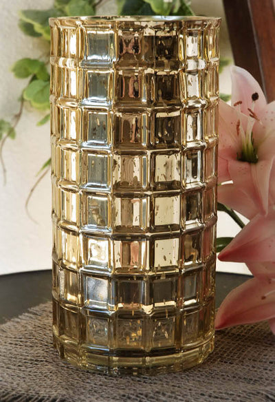 Mercury Glass Vase Gold 10in