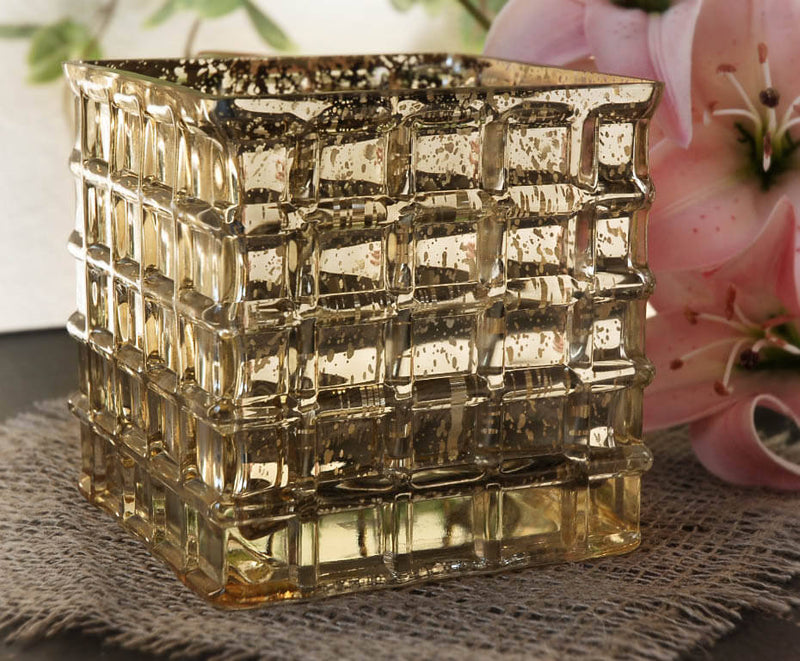 "Gold Mercury Glass 4-3/4"" Cube Vase & Candle Holder"