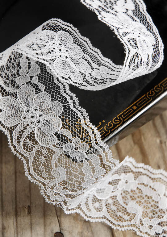 "White Lace Ribbon 2"" width x 25 yards"