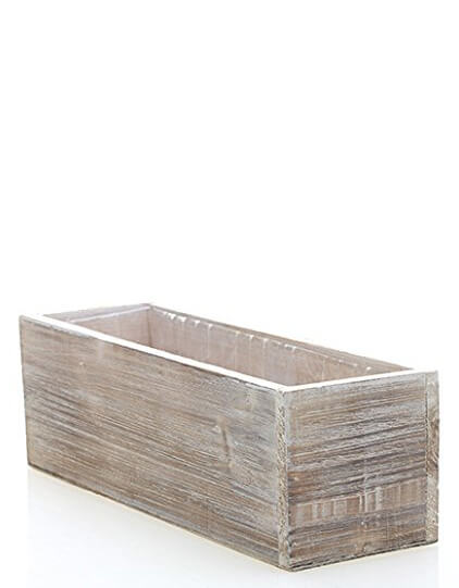 Whitewashed Barnwood Planter 12x4  Hard Plastic Liner