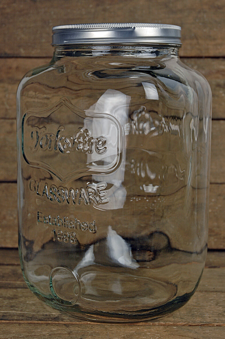 two gallon yorkshire glassware mason jar
