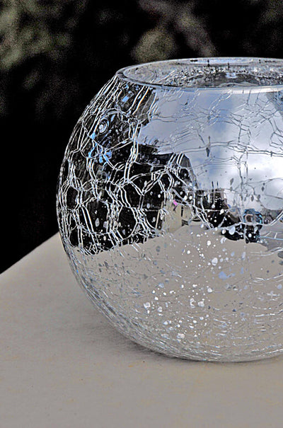 mercury glass silver ivy bowl 5 2 x 6 25