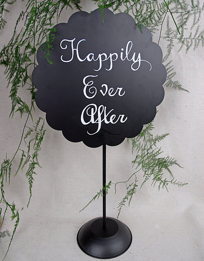 22 scalloped round metal chalkboard with stand