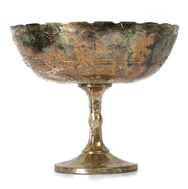 "Mercury Glass Compote Burnt Gold 8"" x 7"""