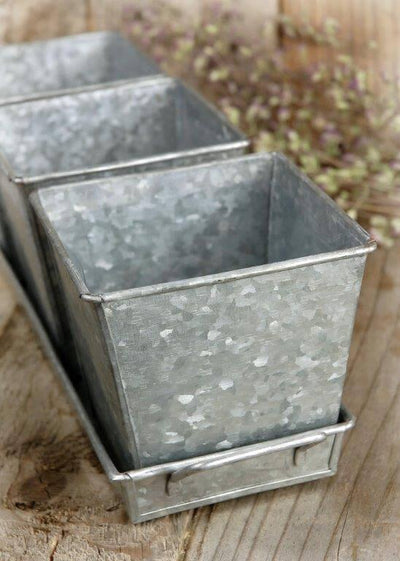 galvanized 3 herb pots tray 14in