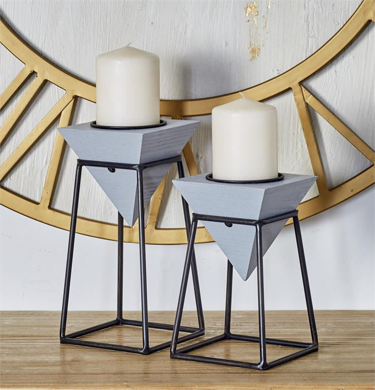 Richland Geometric Pillar Candle Stands Set of 2
