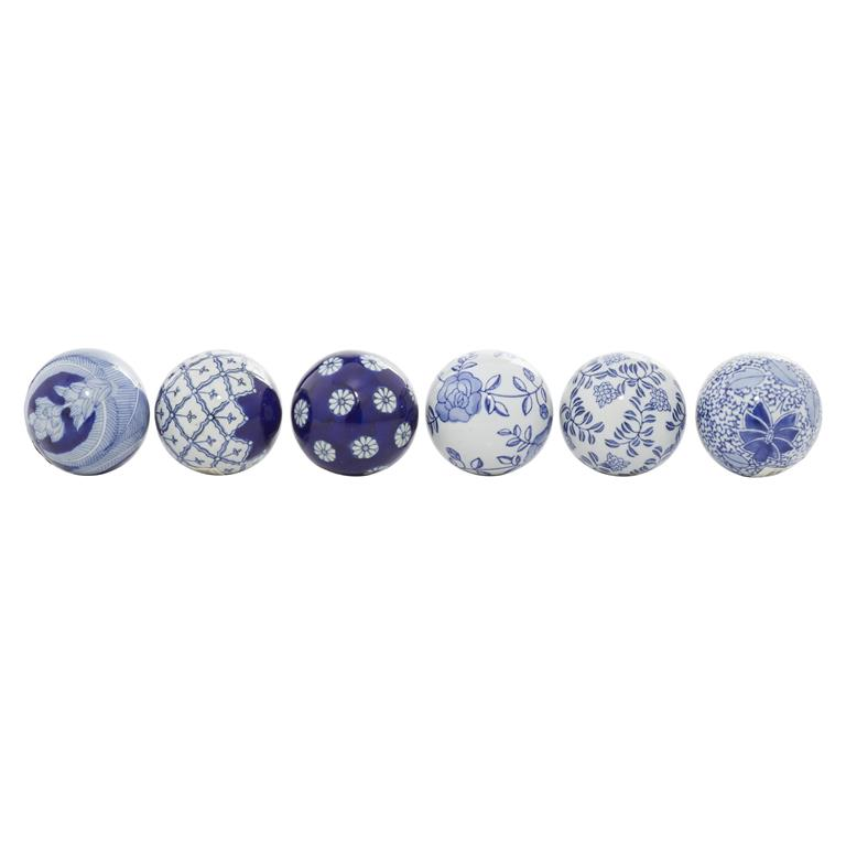 Richland Porcelain Navy & White Balls Set of 6