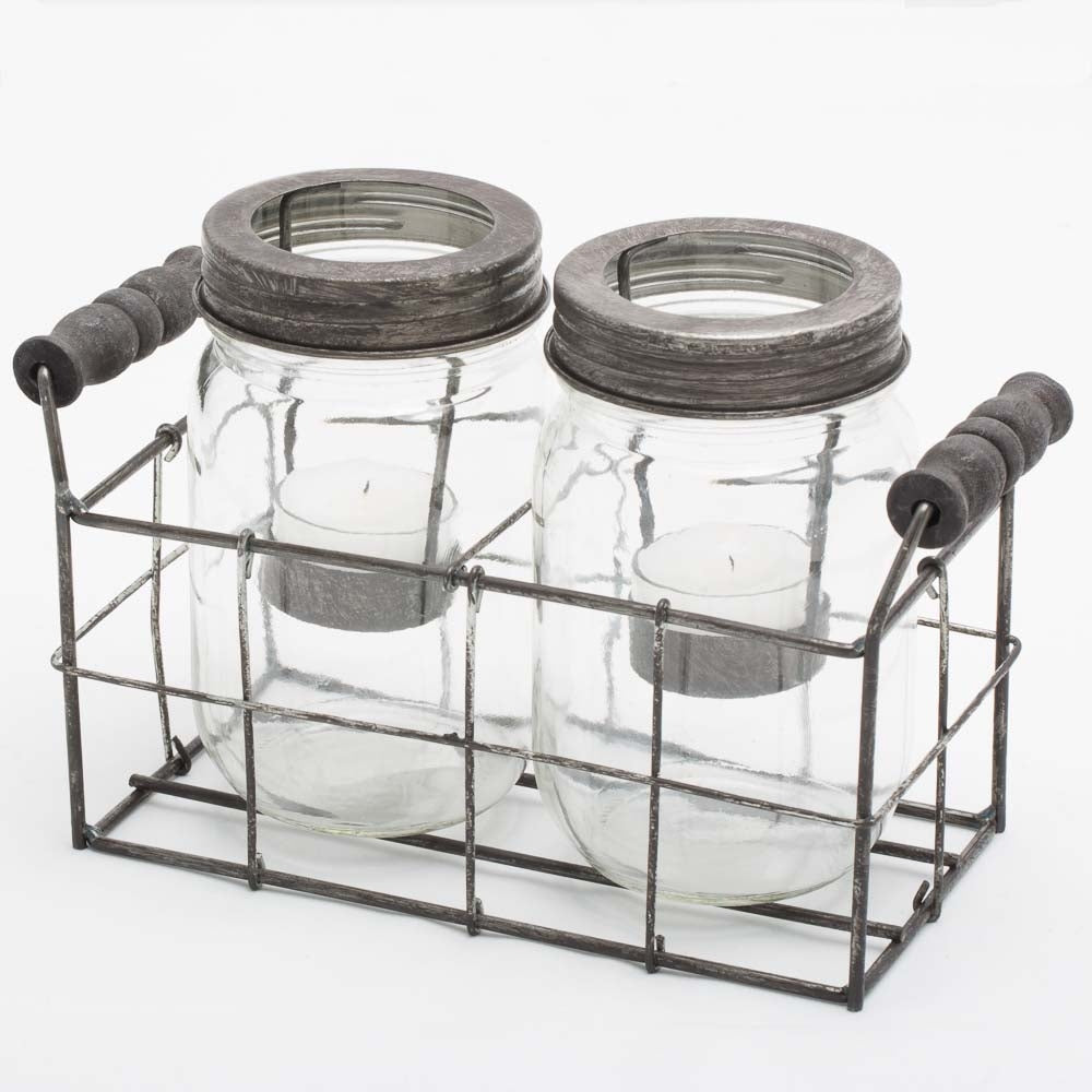 mason jar tealght holders brown 5in set of 2 jars