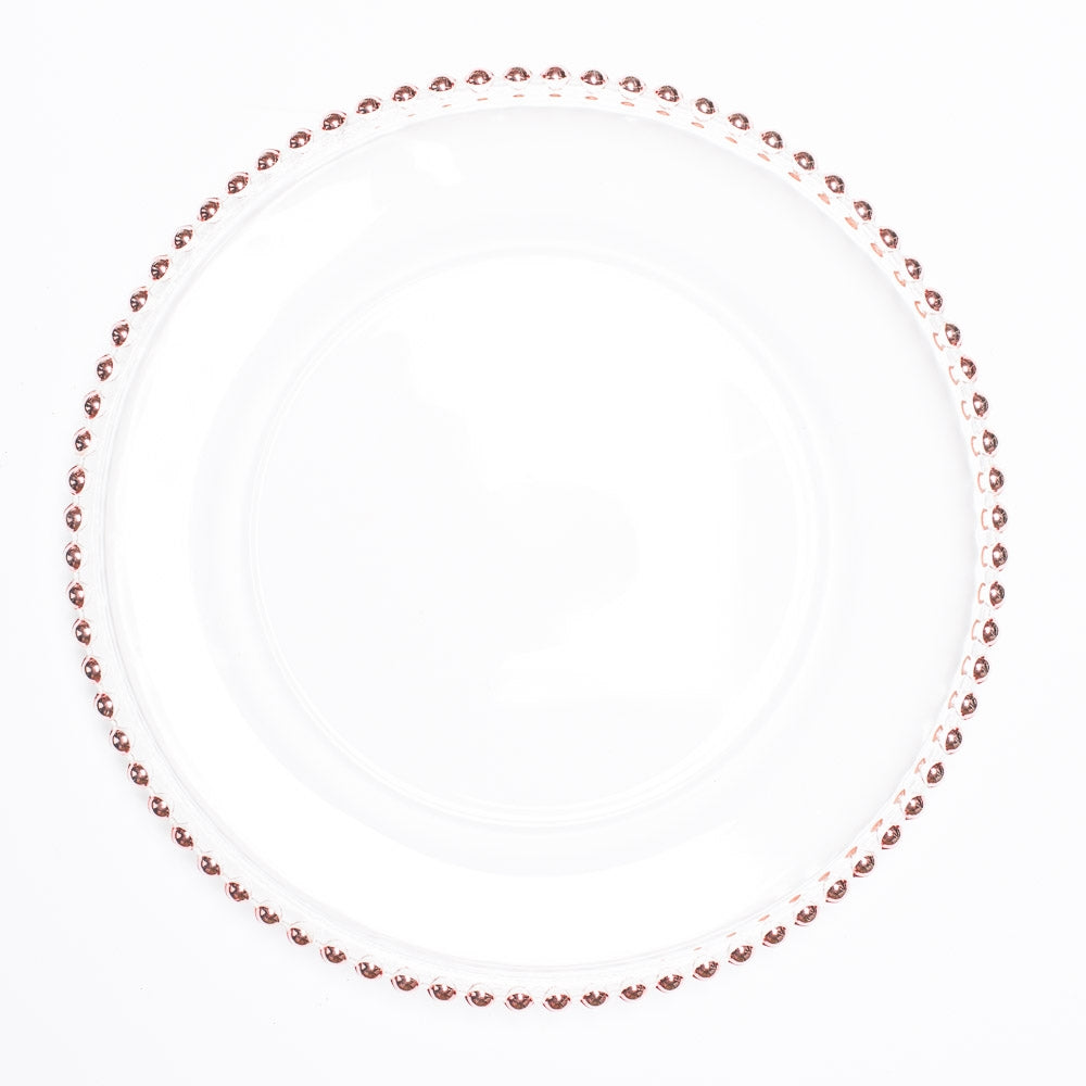 "Richland 13"" Rose Gold Beaded Glass Charger Plate Set of 12"